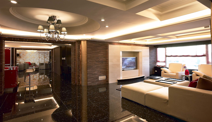 客廳全景 台中室內建築師|利程室內外裝飾 LICHENG Living room