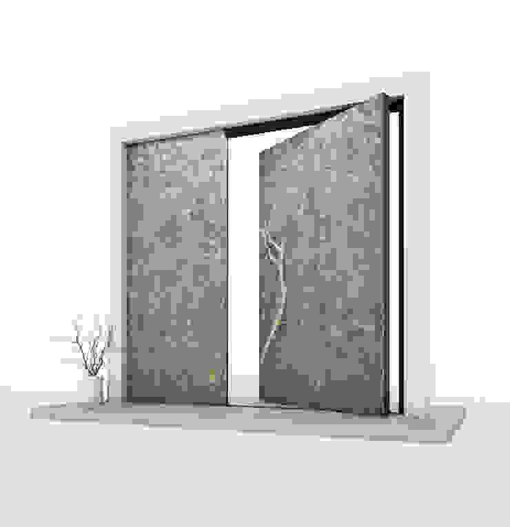 RK Pivot Door with liquid metal RK Exclusive Doors Modern style doors Aluminium/Zinc Metallic/Silver