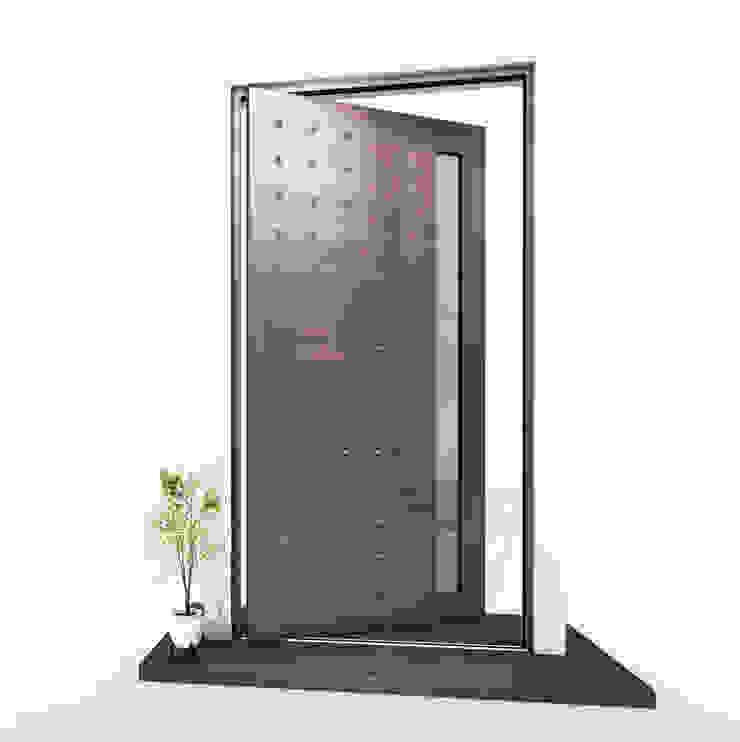 RK Pivot Door with liquid metal RK Exclusive Doors Front doors Aluminium/Zinc Metallic/Silver