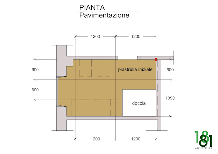 Pianta del bagno di Arch. Sara Pizzo - Studio 1881 Moderno