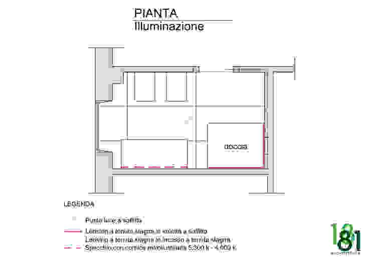 Pianta illuminazione bagno di Arch. Sara Pizzo - Studio 1881 Moderno