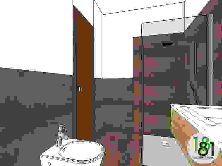 Modello 3D del bagno con rivestimenti a colori alternati Arch. Sara Pizzo - Studio 1881