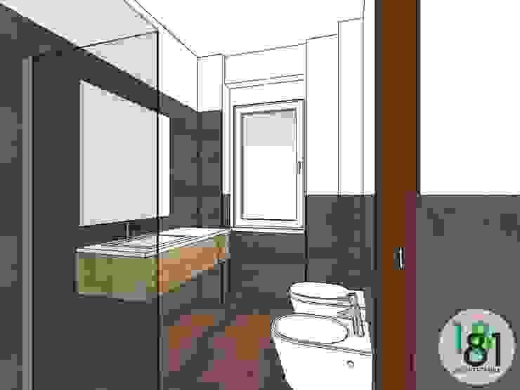 Modello 3D del bagno con rivestimenti a colori alternati di Arch. Sara Pizzo - Studio 1881 Moderno