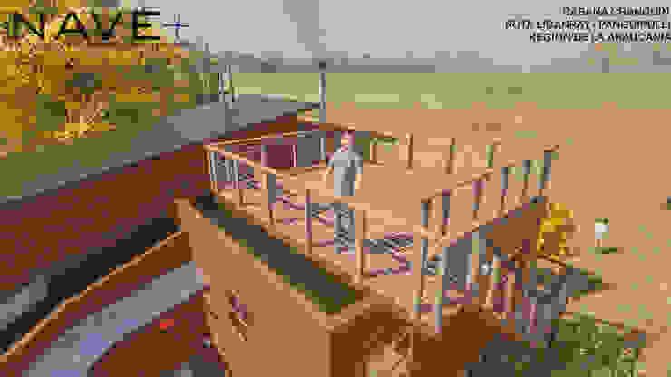 Cabaña Chanquín, Licanray, Comuna de Villarrica Nave + Arquitectura & Modelación Paramétrica Balcones y terrazas rústicos