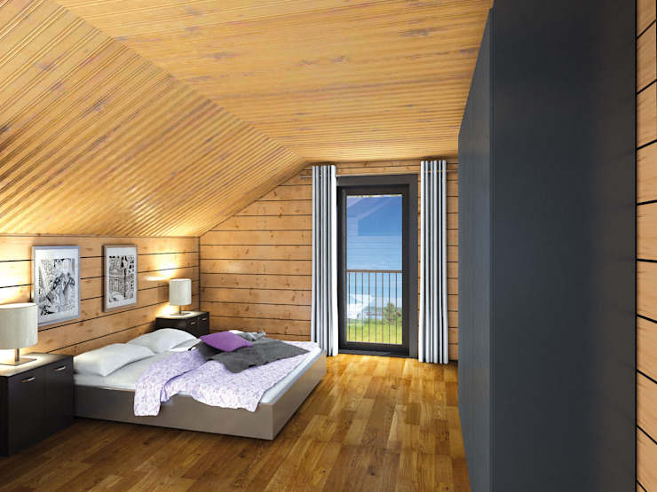 THULE Blockhaus GmbH - Ihr Fertigbausatz für ein Holzhaus 臥室 木頭 Brown