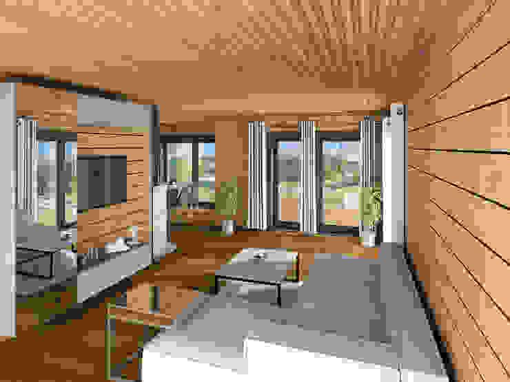 THULE Blockhaus GmbH - Ihr Fertigbausatz für ein Holzhaus 客廳 木頭 Brown