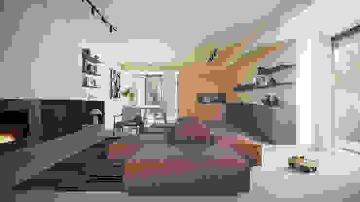 Casa S - l'open space visto dal salotto locatelli pepato Soggiorno moderno Cemento Beige