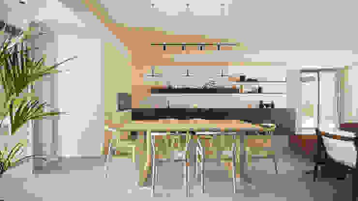 Casa S - la cucina locatelli pepato Sala da pranzo moderna Cemento Beige