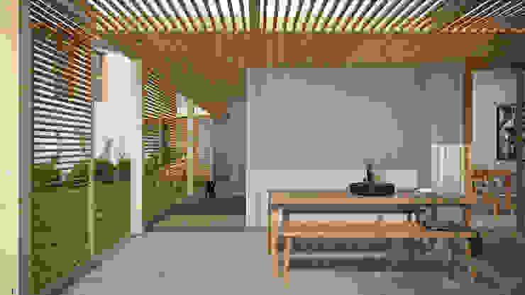 Casa S - il portico davanti alla cucina locatelli pepato Casa unifamiliare Legno Bianco