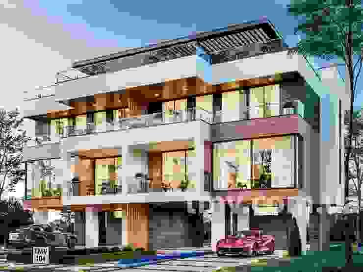 Стильный хай-тек дом с террасой на 2 семьи - TMV 104 TMV Architecture company