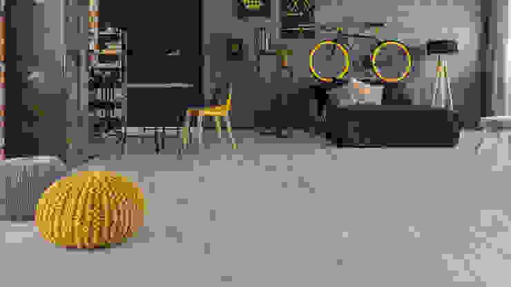 Floorwell モダンデザインの リビング エンジニアリングウッド 灰色