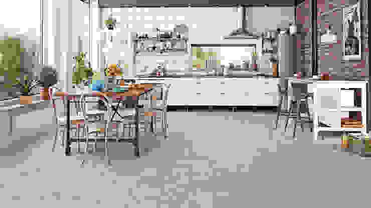 Floorwell モダンな キッチン エンジニアリングウッド 灰色