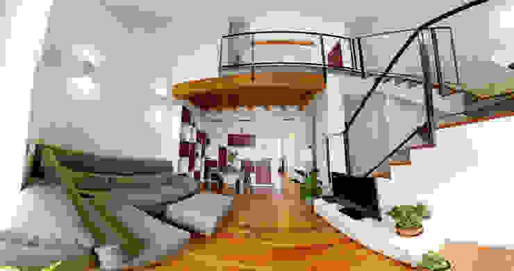 Vista del soggiorno con soppalco Soggiorno moderno di C.M.E. srl Moderno
