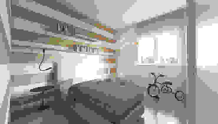 rendering camera singola Sara Zanoni Designer Camera da letto piccola Legno Rosa