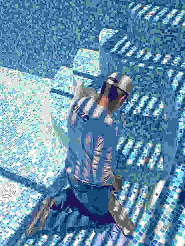 Taller Onze Giardino con piscina Piastrelle Blu
