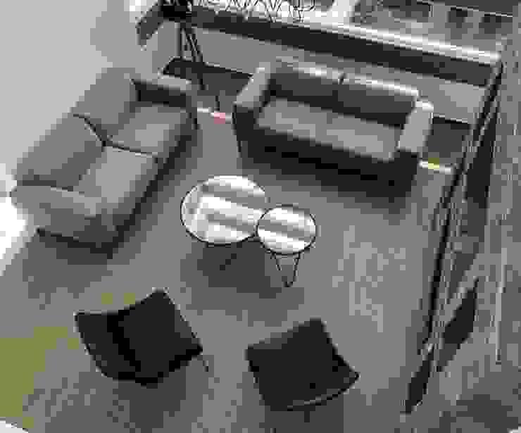 Alejandra Zavala P. Modern living room Wood White