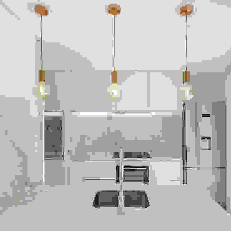 Tiago do Vale Arquitectos Minimalistische Küchen Marmor Weiß