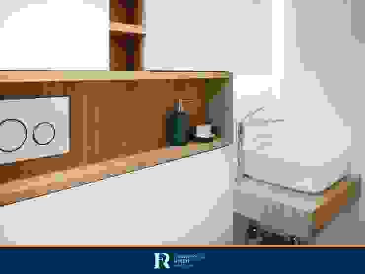 Dettaglio mobile bianco Francesca Rubbi Architecture Bagno moderno Legno Bianco