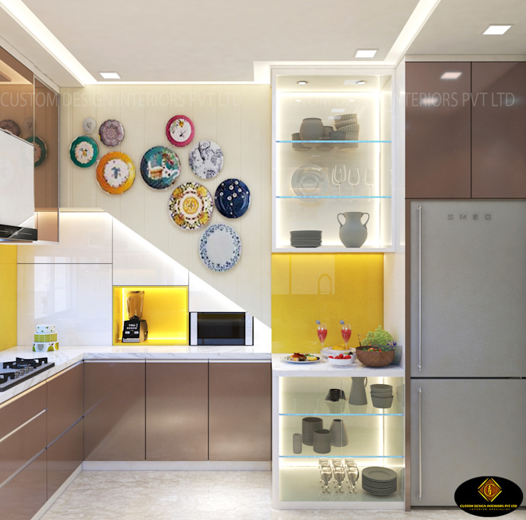 Mr. Tarun Ganguli's Modern Modular Kitchen, Bally, Howrah CUSTOM DESIGN INTERIORS PVT. LTD. 現代廚房設計點子、靈感&圖片 鐵/鋼 Amber/Gold