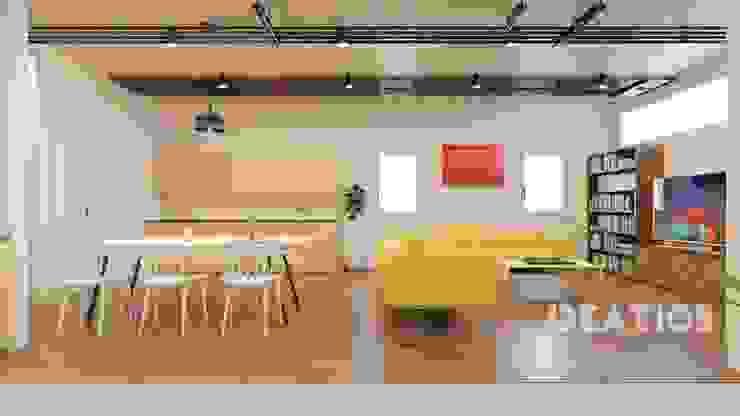 Hostel, Apartment, Breakout room, Living Room: modern  by Ideation Design,Modern