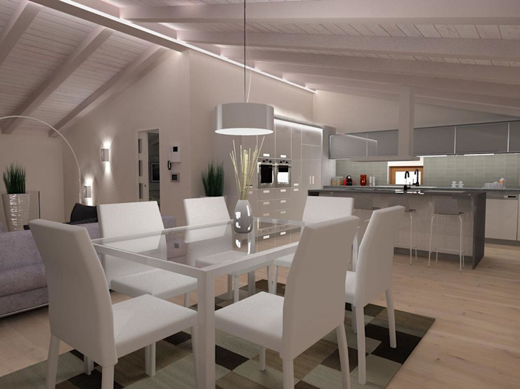 Sala da pranzo, soggiorno ROMAZZINO C.S. SERVICE SRL Sala da pranzo moderna