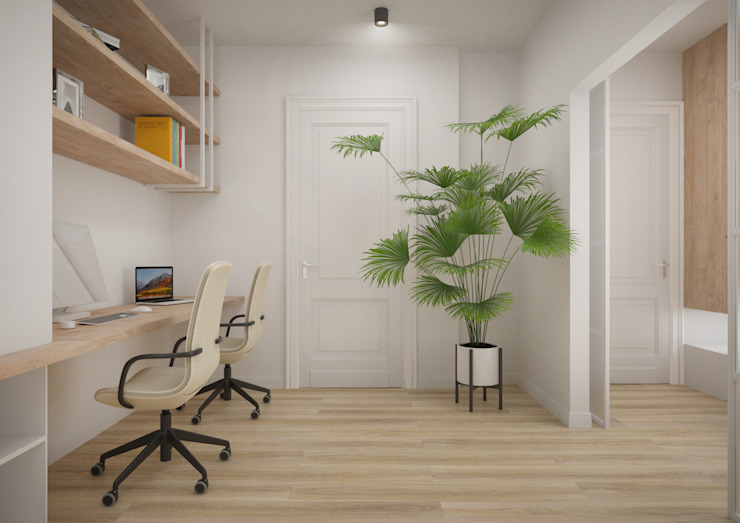Nevi Studio Oficinas y bibliotecas de estilo moderno