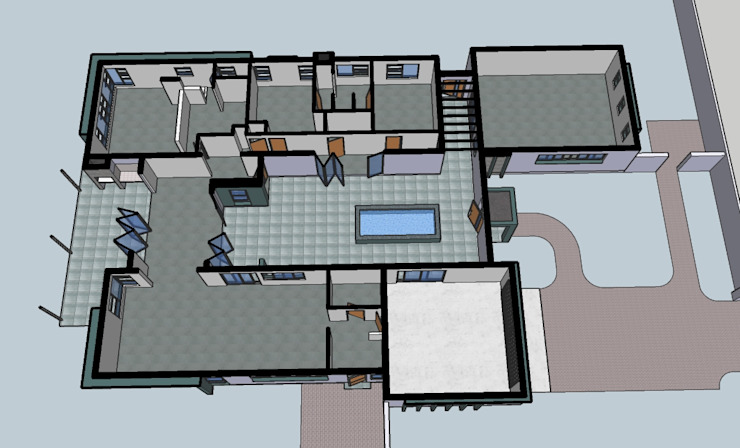 Schematic 3d plan view of proposed new modern residential home Home Design Emporium