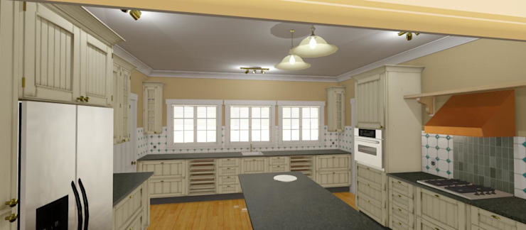 3D Rendered Kitchen design for Face Brick Double storey Residential Home Home Design Emporium