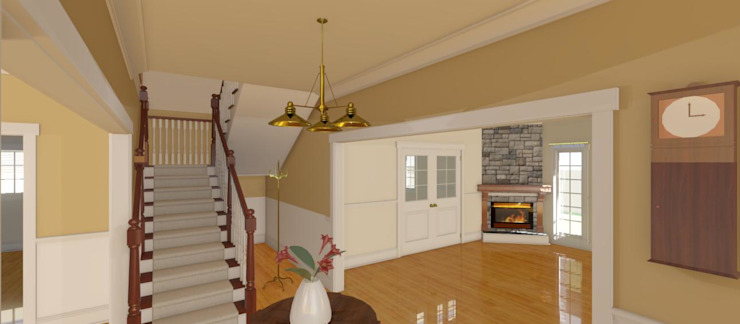 3D Rendered Entrance and Stairs for Face Brick Double storey Residential Home Home Design Emporium