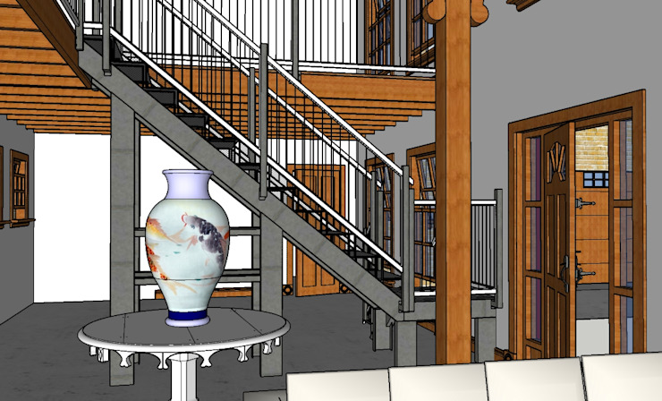Schematic 3D drawing of staircase entrance hall for Barn Style new home Home Design Emporium