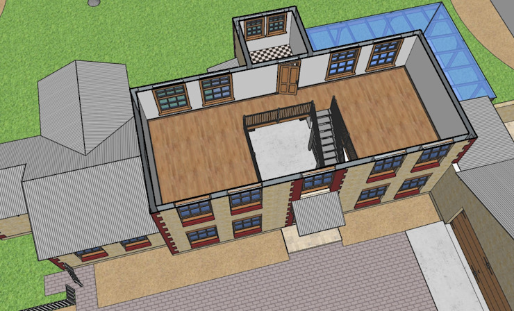Schematic 3D drawing of first floor plan for Barn Style new home Home Design Emporium