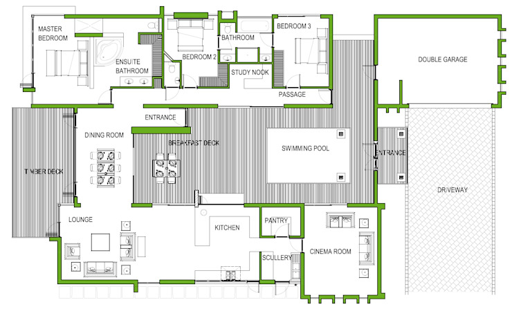 Modern Style Home schematic floor plan Home Design Emporium