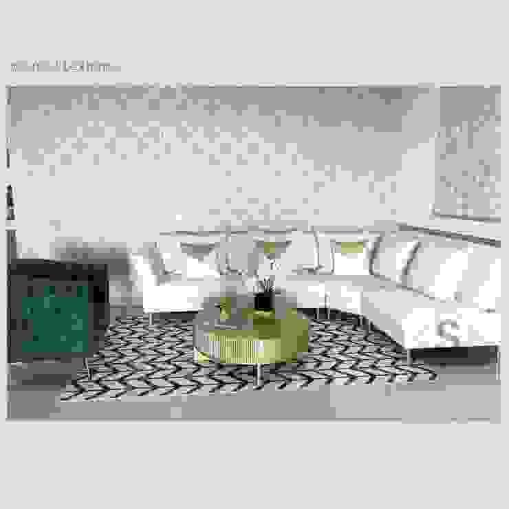 Anam sectional + Poltrona Eleanor + Arden coffeetable by Supellex Home de SUPELLEX HOME Moderno Derivados de madera Transparente