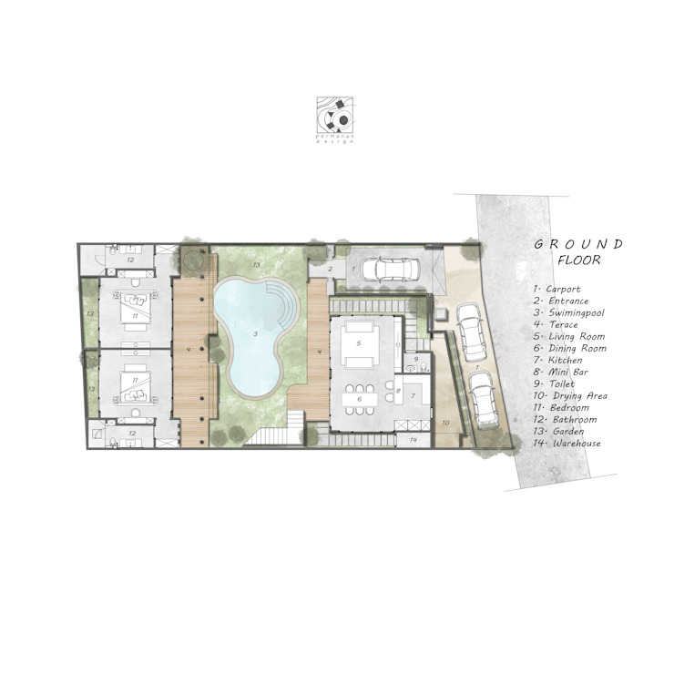 I N Villa Layout Oleh Permanas Design Tropis