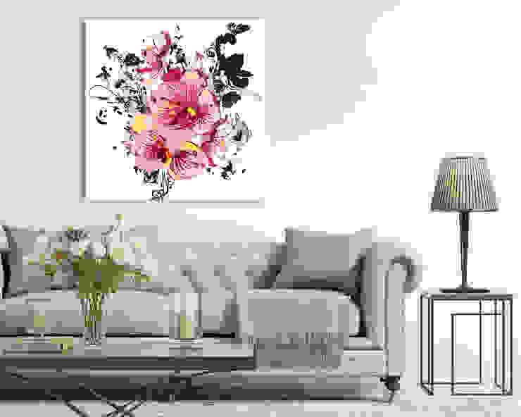 """Quadro moderno fiori """"ORCHIDEE E FARFALLE"""" – Arte – Stampa su tela Soggiorno moderno di INTERNI & DECORI Moderno Legno Effetto legno"""