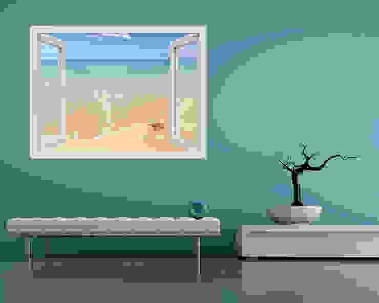 """Adesivo murale finestra """"AFFACCIATI SUL MARE"""" – Natura – Finestra illusione INTERNI & DECORI Pareti & Pavimenti in stile moderno PVC Beige"""