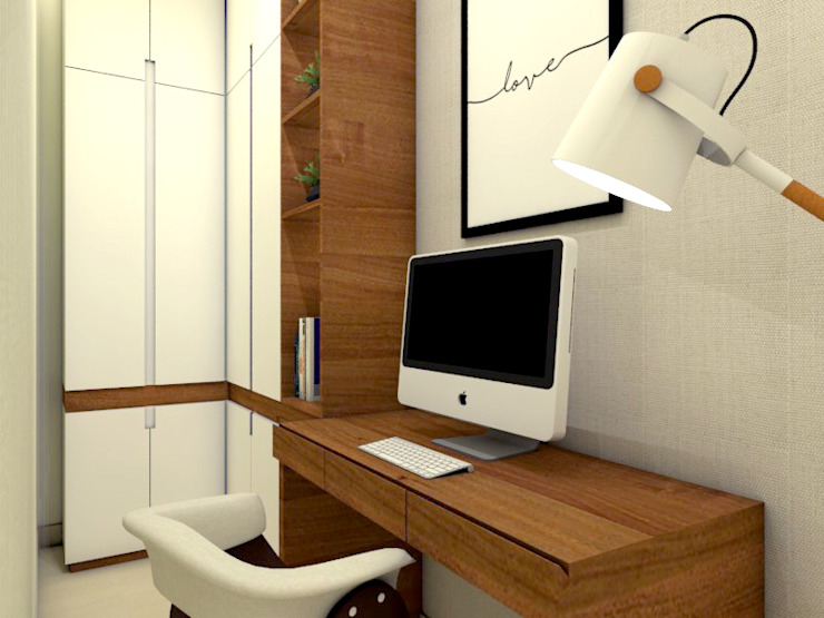AF arquitetura Estudios y despachos de estilo escandinavo Madera Blanco