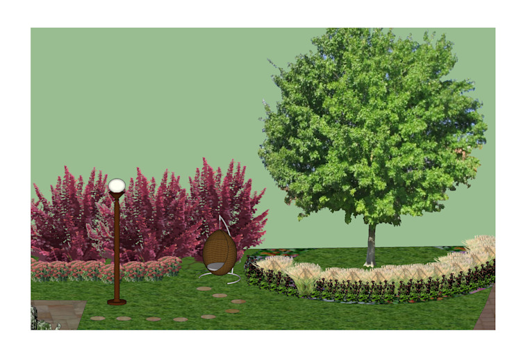3D software elevation showing the quiet seating area The Rooted Concept Garden Designs by Deborah Biasoli Country style garden