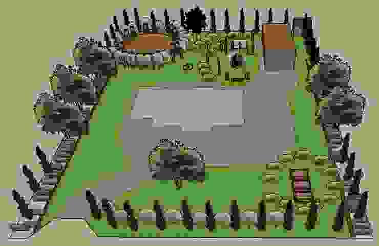 3D software elevation of whole garden The Rooted Concept Garden Designs by Deborah Biasoli Rustic style garden