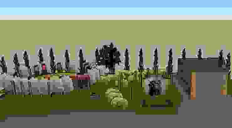 3D software elevation of back part of garden The Rooted Concept Garden Designs by Deborah Biasoli Rustic style garden