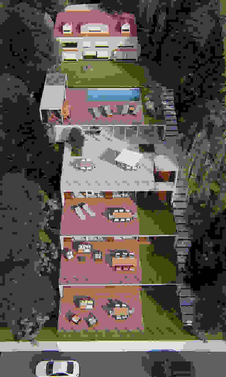 LLACAY arquitectos Minimalist balcony, veranda & terrace Concrete Wood effect