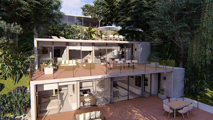 LLACAY arquitectos Modern houses Reinforced concrete Wood effect