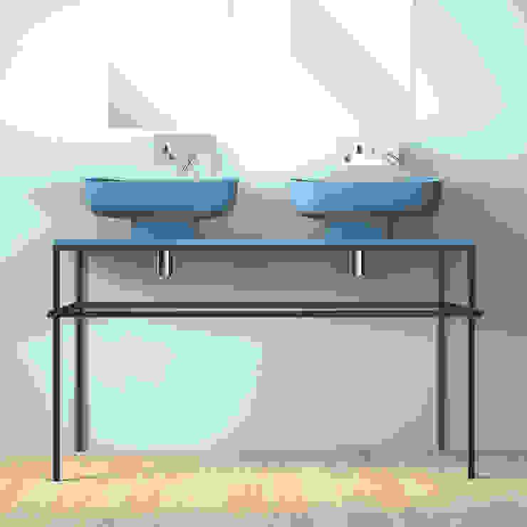 EXPO 120 azzurro ; doppio lavabo tra classico e moderno eto' Bagno moderno Ceramica Turchese