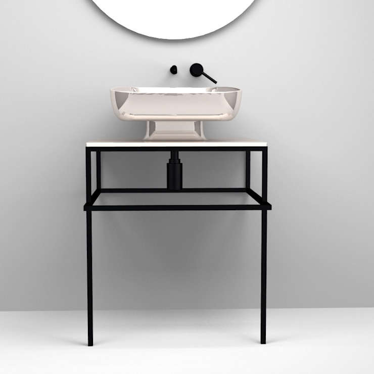 eto' Modern Bathroom Ceramic Metallic/Silver