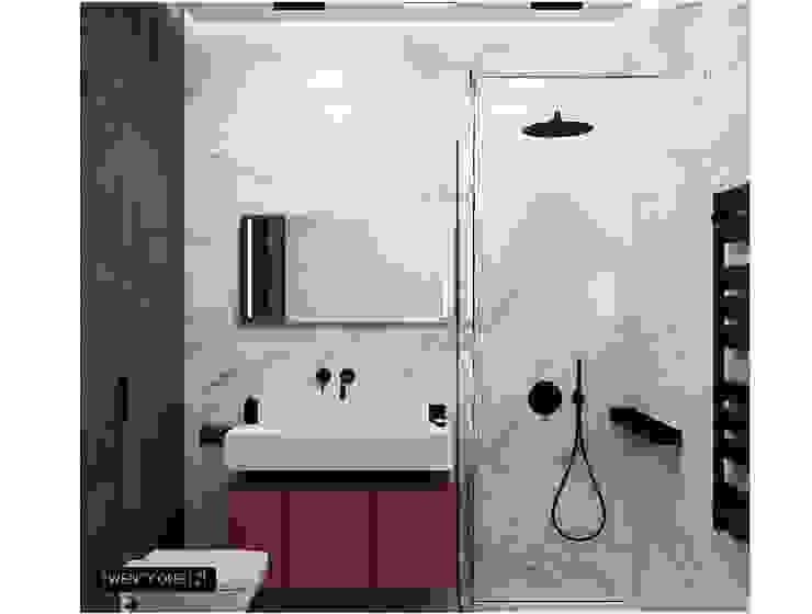 Проект в ЖК «Петровская Ривьера» Ванная комната в стиле минимализм от Twenty-one Минимализм