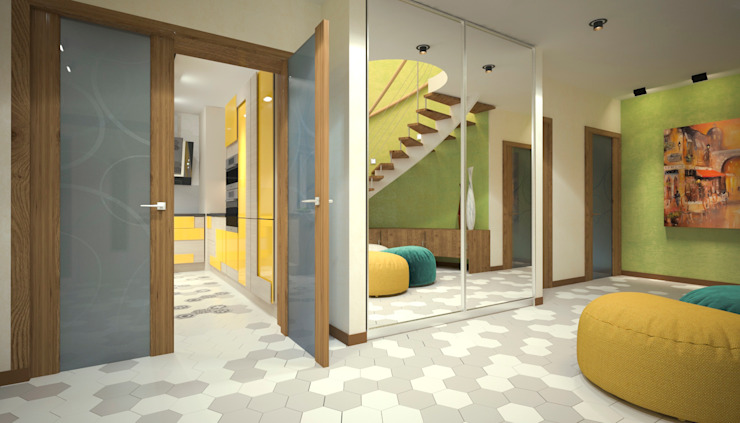 ISDesign group s.r.o. Eclectic style corridor, hallway & stairs Yellow