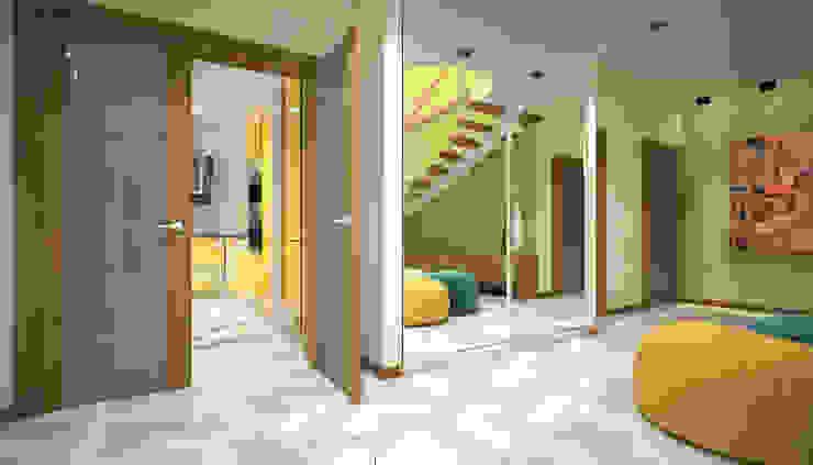 ISDesign group s.r.o. Pasillos, vestíbulos y escaleras de estilo ecléctico Amarillo