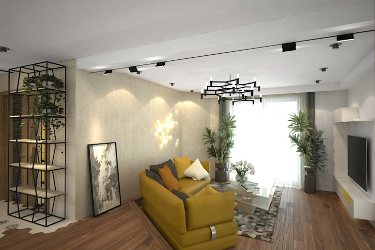 ISDesign group s.r.o. Eclectic style living room Beige