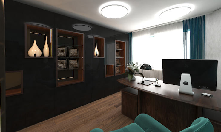 ISDesign group s.r.o. Eclectic style study/office Brown