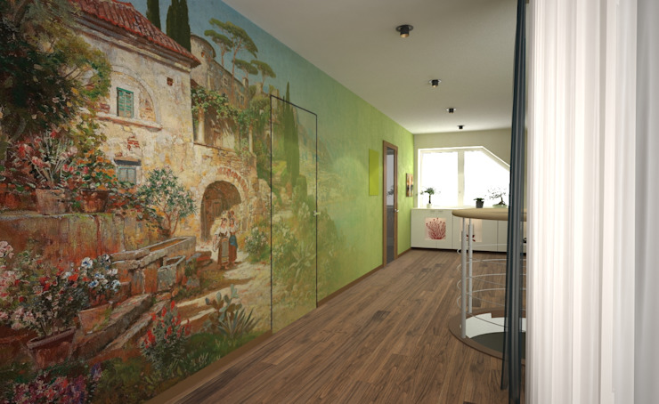 ISDesign group s.r.o. Eclectic style corridor, hallway & stairs Multicolored